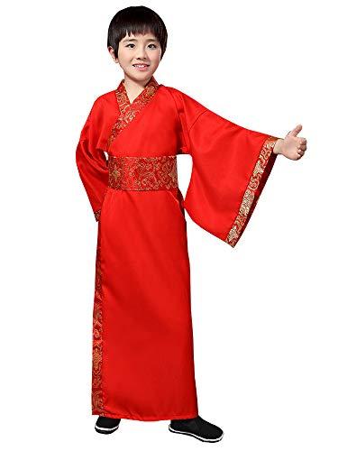 BOZEVON China Hanfu - Junge Festival Performance Kostüme Alte Streitende Staaten QIN und Han Dynastien Offizielle Uniform,Rot,EU 170=Tag 180