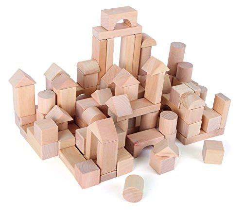 rbausteine aus Holz, Steine in verschiedenen Formen, im Leinenbeutel zur Aufbewahrung, ab 3 Jahren ()