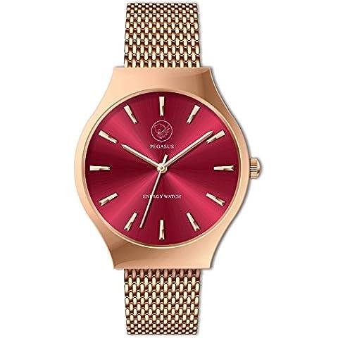 Reloj de energía Pegasus Sunray Rojo y Oro Energetix 4you 2577 reloj de la joyería magnética, hipoalergénico en la bolsa de la joyería
