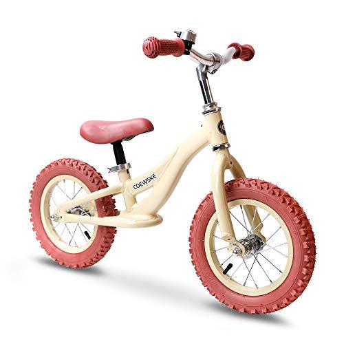 """COEWSKE 12""""Balance Fahrrad für Kinder Kinder Laufrad Aluminiumlegierung Kein Pedal Walking Fahrrad für Alter von 2 bis 5 Jahre Alt (Creme Gelb)"""