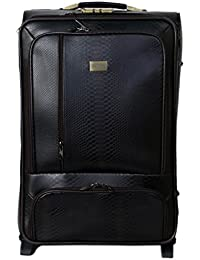 "Tramp & Badger 100% Leather, 2 Wheels, Solid & Stylish Luggage Trolley Bag-Black (Size-32"" Cabin Size )"