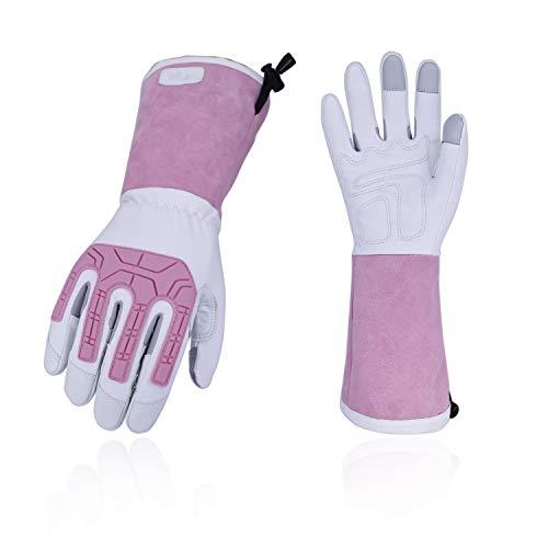 Vgo 2 Paare Rosagarten- und Arbeitshandschuhe, mit Langen Armen und Soften Ziegenlederpalmen, für Rosa oder Kaktusgartebarbeit, Anti-vabrasion, weibliche Handschuhe (8/M, Weiß & Rosa, GA9659) -