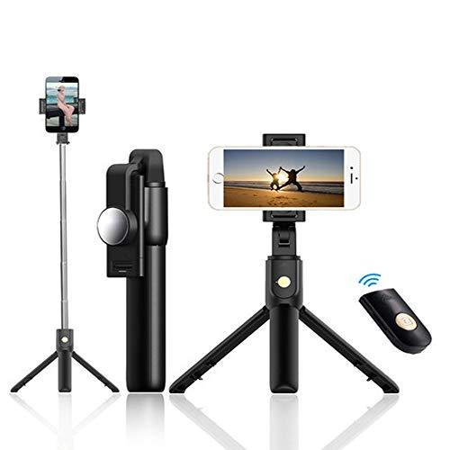 SHENXUNKEJI Bluetooth Selfie Stick con treppiede, monopiede allungabile Mini Wireless Selfie Stick, per Video dal Vivo, Foto, Tipo Integrato Rotazione a 270 ° Multifunzione Foto Multi-Angolo (Nero)