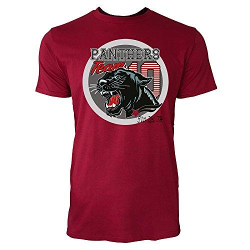 Sinus Art ® Herren T Shirt Panthers Team 10 ( Independence_Red ) Crewneck Tee with Frontartwork (Panther Crewneck)