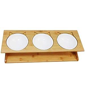 Lubier 1 Set Petilleur Bol pour Chat et Chien Bois Gamelle Haute pour Chat et Chiot avec Support en Bambou 3 Bols Céramique