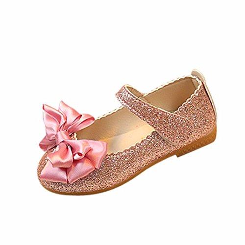 Qitun Scarpe Basse Bambina da PU Pelle Fondo Morbido Calzature Traspirante Sandali Principessa Ragazza Partito Formale rosa EU 25.5/Longueur Du Pied:16CM Hf7yU8A3