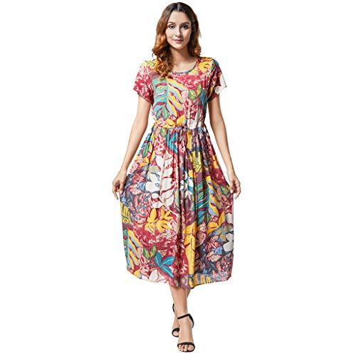 Amcool Damen Kleider Maxi Sommerkleid Casual V-Ausschnitt Kurzarm Split Lange Casual Strandkleid Swing Boho Blumen Maxi Loose Kleid Mit Gürtel