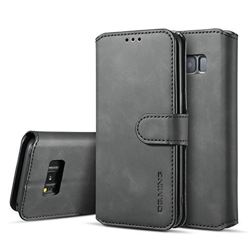 Premium-handy-holster (xinyunew Samsung Galaxy S8 Plus Hülle, 360 Grad Handyhülle + Panzerglas Premium Handy Schutzhülle Leder Wallet Tasche Flip Brieftasche Etui Schale (Schwarz))