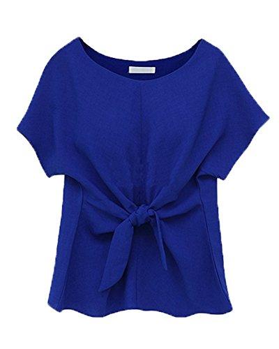 Chemisier Femme Mousseline De Soie Chemise T-Shirt Blouse Tops À Manche Courte Saphir bleu