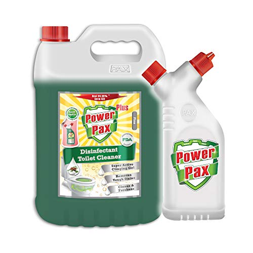 PAXCHEM PowerPax Plus Disinfectant Toilet Cleaner (Pine) with Refillable and Reusable Bottle, 5 L