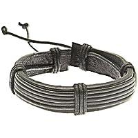 Bracciale in pelle e cavo / cinturino in pelle / braccialetto di surf -05 - Gioielli Cinturino In Pelle Nera