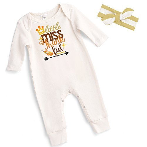 Thanksgiving Baby Romper with Matching Headband by Tesa Babe