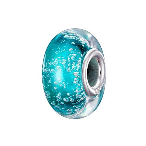 Argent 925/1000 Charm Verre De Murano Compatible Europeen Bracelets Pour Colliers Bracelets (29) 25