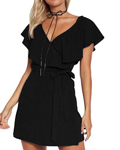 mmer Kurz V-Ausschnitt Schulterfrei Kleider Elegant Strandkleider Minikleid Partykleider, Gr.- 44 EU/ Etikettengröße- Large ()