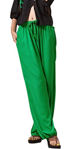 Aivtalk - Yoga Pantaloni Estate Larghi di Lino per Donna Womens Soft Yoga Sport Dance Pants Pantaloni Harem Molto Morbido Verde