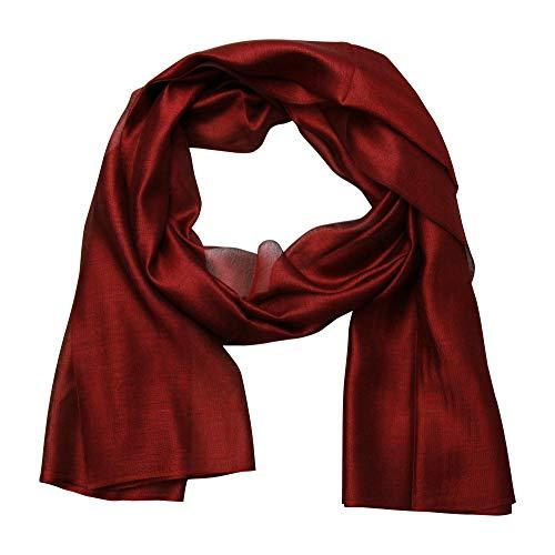 beybey Damen Seide Schal mit Farbverlauf (uni rot) -