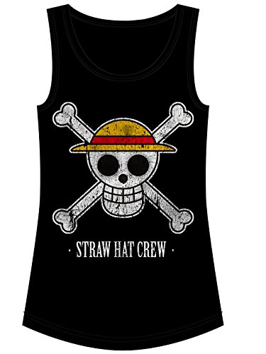 One Piece Straw Hat Crew Top Mujer Negro S