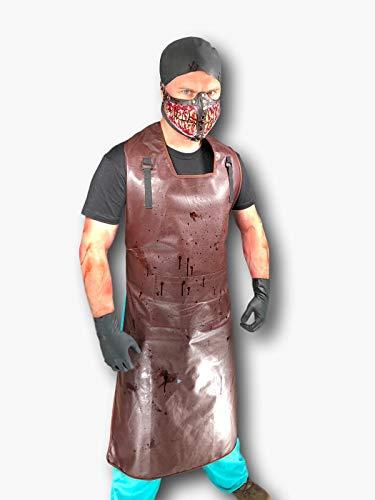 Rubber Johnnies Scary Butcher Kostüm Kit,, Erwachsene Einheitsgröße, Blutige Zähne Maske, Schwarze Kapuze (Mann Hacke Kostüm)