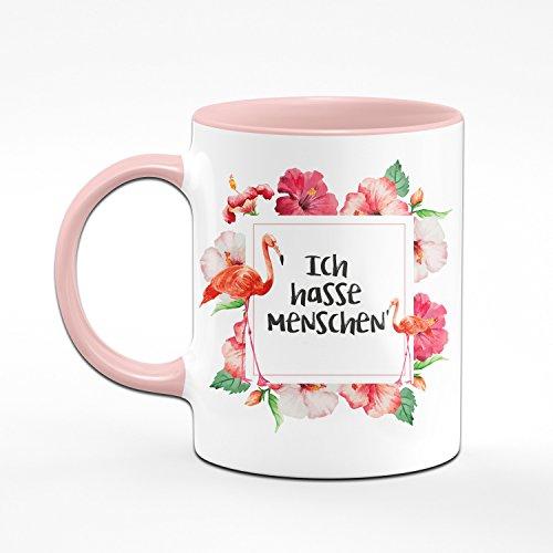 Flamingo Tasse - Ich Hasse Menschen - Kaffeetasse - lustige Tassen - witzige Tassen - rosa Tasse - 2