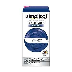 Simplicol Fabric Dye Intensive Royal blue: Washing Machine Dye Kit for Clothes & Fabrics, Contains Liquid Dye & Dye Fixative - Textile Dyeing Safe For You & Your Washing Machine