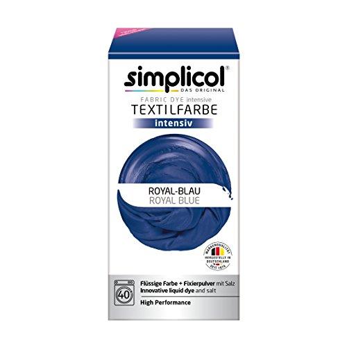 Simplicol Textilfarbe intensiv (18 Farben), Royal-Blau 1809 Dunkelblau: Einfaches Färben in der Waschmaschine, All-in-1 Komplettpackung