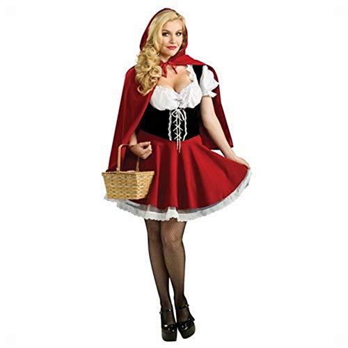 XXF Rotkäppchen Cosplay Uniform Halloween Schloss Königin Performance Kostüm,Rot,XL