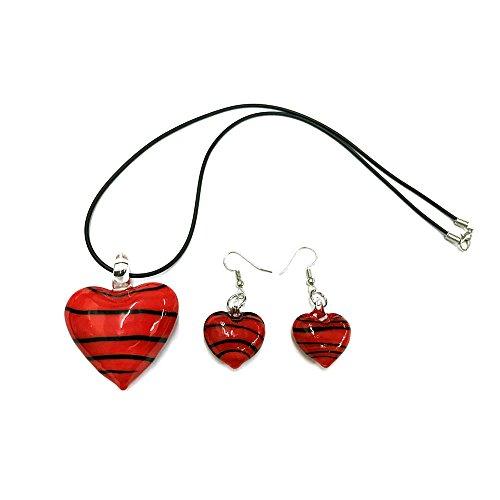 Ecloud Shop® Glasperle Halskette Anhänger Ohrring Rot Schön Charms