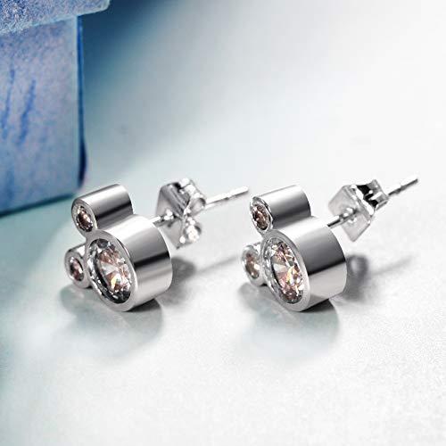 1 par de pendientes de tuerca para mujer, chapados en plata, con circonitas cúbicas, cristal blanco, diseño de ratón, pendientes de oreja, joyería para niñas y niños, oro rosa
