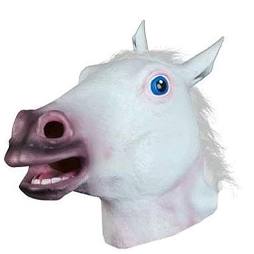 Starall Neuheit Creepy Horse Halloween Kopf Latex Gummi Kostüm Theater Prop Party Maske Angebot Silikon Maske (weiß)