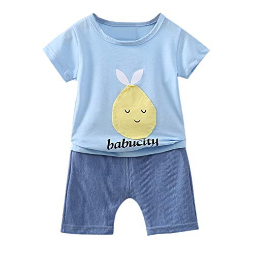 Yanhoo-Kinder Baby Mädchen Junge Cartoon Spot Print Tops T-Shirt Gestreifte Shorts Outfits Set Kinder Kurzarm Cartoon Obst Print T-Shirt Shorts Set Babu City