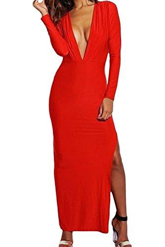 Dissa® femme Blanc SY6335-1 longue Robe Rouge