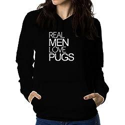 Sudadera con capucha de mujer Real men love Pug
