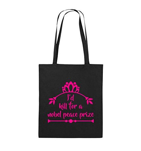 Comedy Bags - I'd kill for a nobel peace prize - Jutebeutel - lange Henkel - 38x42cm - Farbe: Schwarz / Silber Schwarz / Pink