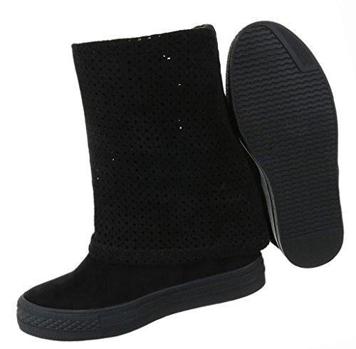 Damen Schuhe Stiefeletten Stiefel Perforierte Keil Wedges Schwarz Schwarz