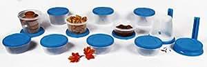 Cutting Edge Nesterware Microwaveable Container, 500,750 & 1000ml, 34 piece set, Aqua Blue