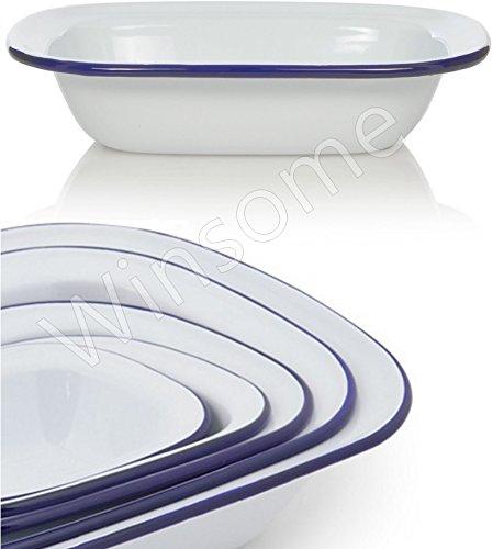 Winsome White Enamel Pie Dish Pudding Baking Steak Oblong Bake Oven Tin Pans Traditional Bakeware (L 32 x W 24 x D 7.5 CM)