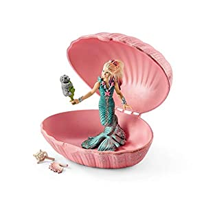 Schleich - Figura de Sirena con cría de Foca en una Concha , Color Rosa, 18 cm