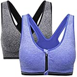 Pipal Front Open Zipper Padded Sports Bra for Gym Yoga Dancing Workout or Aerobic (Pack of 2) (Free Size, Fits Best- 28B…