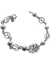 da1c0e8170 925m braccialetto d'argento prima comunione 16,5 centimetri legge. intorno  alle perle