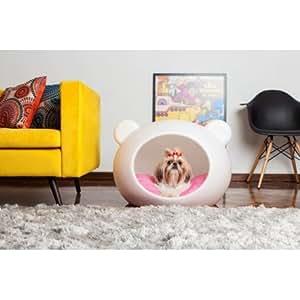 Panier Guisapet cave pour chien et chat - Couleur - Noir, Forme du panier - Oreilles chat, Taille - S, couleur coussin - fleurie