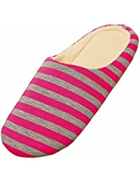 LUOEM Unisex Indoor Slippers Soft Warm Stripes Slippers Autumn Winter Cotton Slippers for Men Women - Size 38/39(Rose Red)