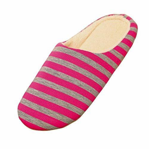 Bestoyard pantofole inverno ciabatte calde peluche morbido interno antiscivolo pantofole per donna (a righe)
