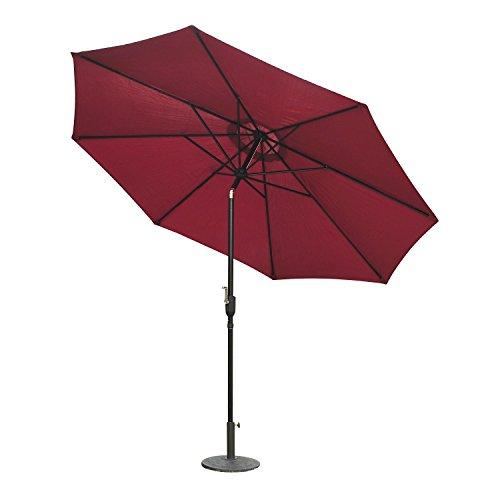 Outsunny ombrellone da giardino impermeabile inclinabile φ3x2.45m rosso vino