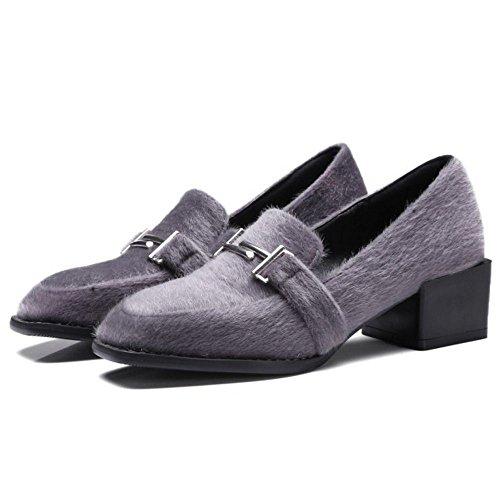 COOLCEPT Femmes Mode Boucle Belt Chunky Heel Talon bas Escarpins Brogues Flocking Chaussures Gris