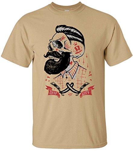 PAPAYANA - DEEP-CUTS - Herren T-Shirt - HIPSTER SKULL FACE BEART BARBER DOPE Khaki