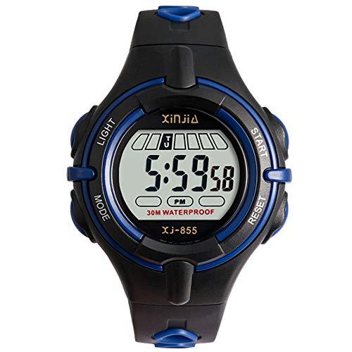 Kinderuhr Digital Jungen und Mädchen mit Schwarz Armband Digital Wasserdicht Sports Digitaluhr für Boy und Girl Uhr mit LED-Leuchten (Kids-uhren)