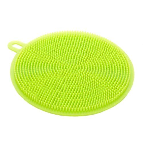 Bobopai Silicone Scrubber, Silicone Multipurpose Kitchen Scrub Brush for Dish Pot and Veggies Fruit Non-Stick Pan (A-Green) Green Food Storage