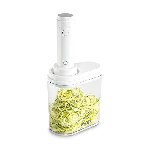 Elektrischer Spiralschneider (100 W) von KITCHEN CREW inkl. 4 Schneideinsätzen aus Edelstahl für Obst- und Gemüsenudeln mit praktischem Auffangbehälter