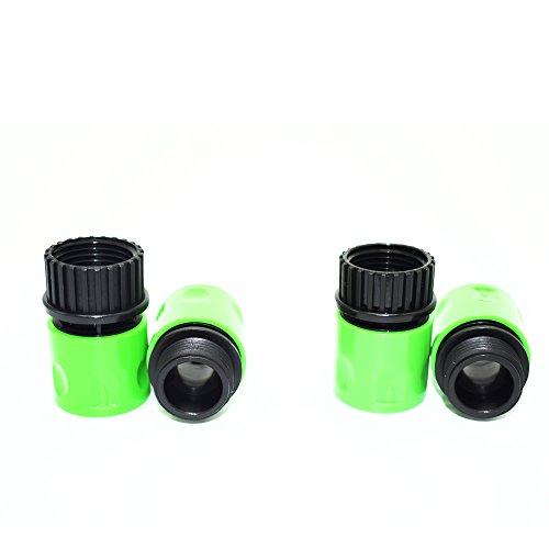 2 paires de jardin stretch Quick Connect Adaptateurs pour robinet tuyau connecteur vert