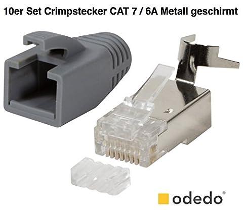 odedo® Lot de 10connecteurs à sertir Gris Cat7, Cat 7A, Cat 6a pour câble de pose jusqu'à 8mm, 10Gbit Ethernet Gigabit, pour ou brins, métal blindé flexible avec Passe-fil rigides et protection antitorsion, lankabel réseau RJ45Cat 7, 7A, 6A, Modular Plug Connecteur Shielded avec